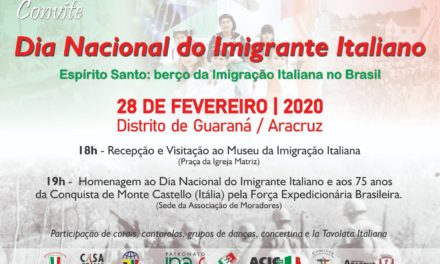 Estado do Espírito Santo comemora Dia Nacional do Imigrante Italiano no Brasil